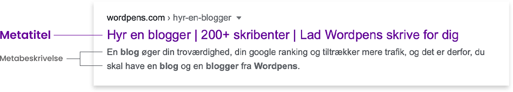 Screenshot of what google show in the search result page